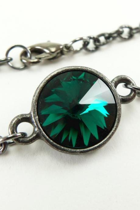 May Birthstone Bracelet Emerald Green Jewelry Dark Green Crystal Bracelet Dark Silver Jewelry Gunmetal Rivoli Chain Bracelet