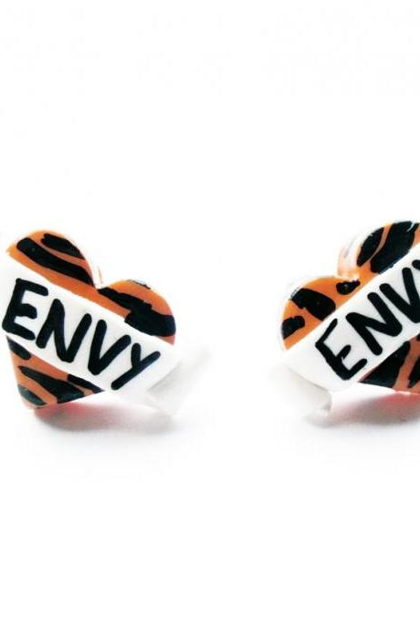 Tiger Envy Heart Stud Earrings