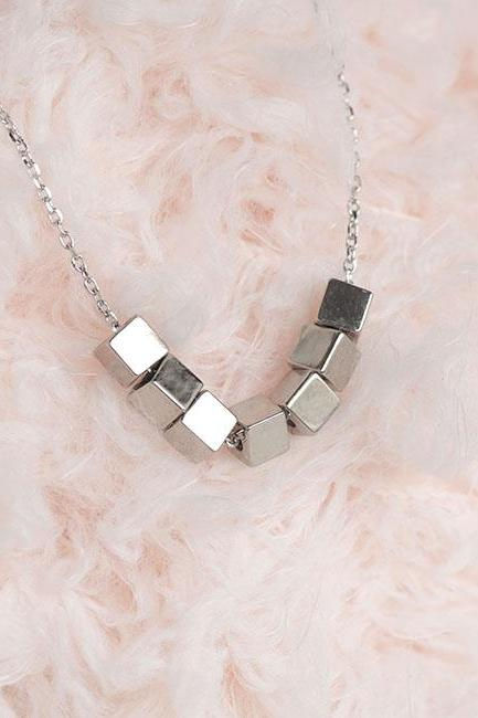 Silver Cubes Necklace, Tiny Square Cubes Necklace, Minimalist