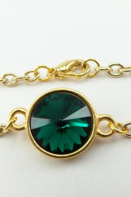 Emerald Bracelet Color of the Year Gold Chain Bracelet May Birthstone Bracelet Emerald Crystal Gold Bracelet