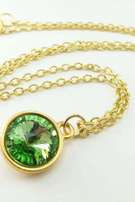 Peridot Necklace Green Gold Jewelry August Birthstone Necklace Crystal Peridot Jewelry