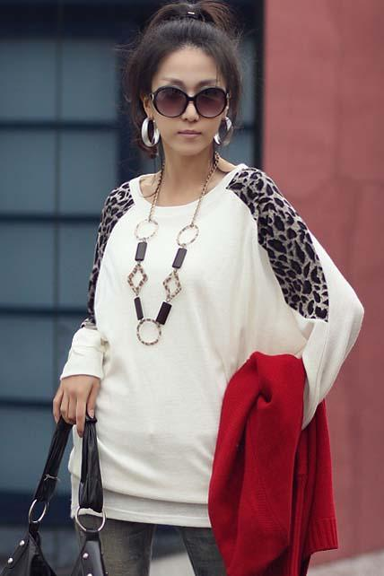 Korean Casual Batwing Long Sleeve Leopard Block Loose Cotton T-shirt - White