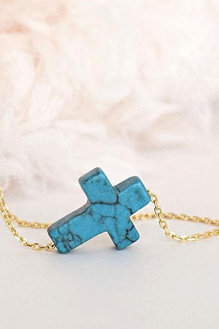 Turquoise Sideways Cross Charm Necklace, Gold / Silver Chain Option