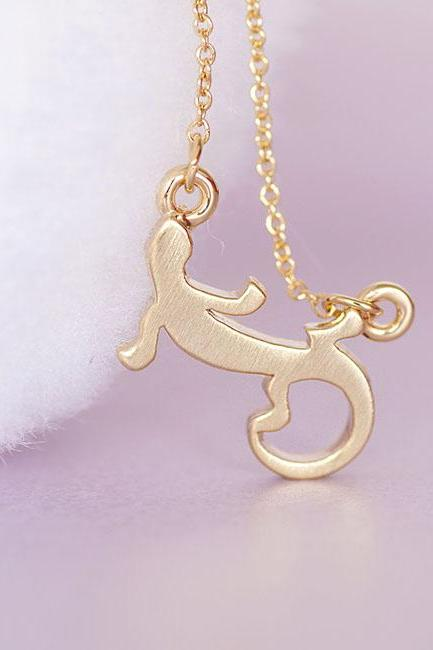 Gold Gecko Necklace, Lizard Reptile Pendant Necklace, Quirky Funky
