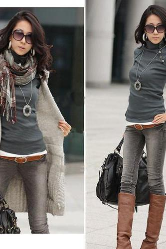 Fashion High Collar Top Shirt Loose Sleeve - Grey