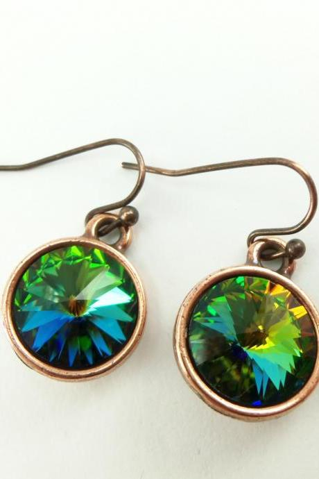 Drop Earrings Rainbow Earrings Multi Color Rainbow Crystal Copper Drop Earrings