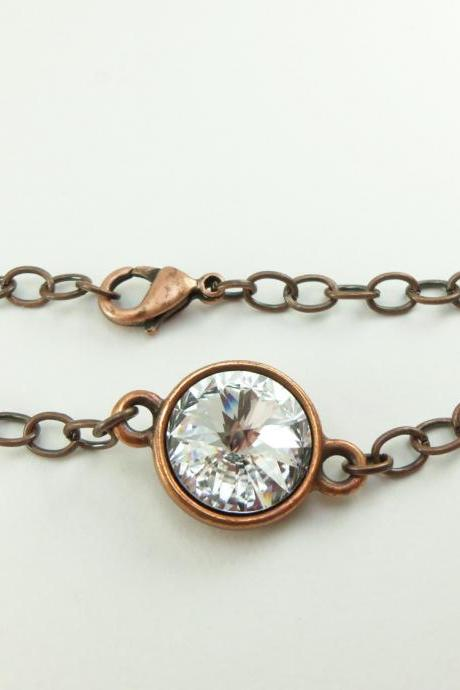 Crystal Clear Copper Bracelet Crystal Chain Bracelet Crystal Jewelry