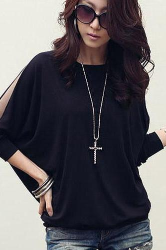 Brief Style Fashion Round Collar Loose Top Shirt For Women - Black