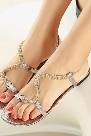 Leisure shoes wild fashion metal snake BBCGH