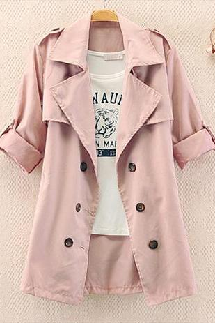 Slim Solid Color Bow Button Coat A 082612