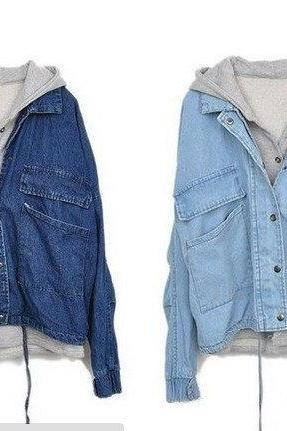 Detachable hooded casual jacket denim, two pieces L 073003