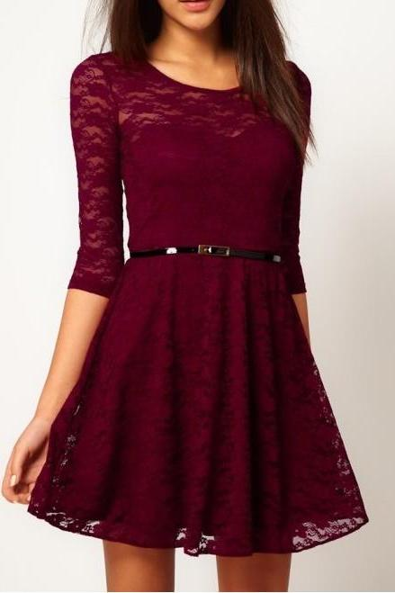 Fashion Lace Stitching Round neck long-sleeved dress with belt - Dark Red