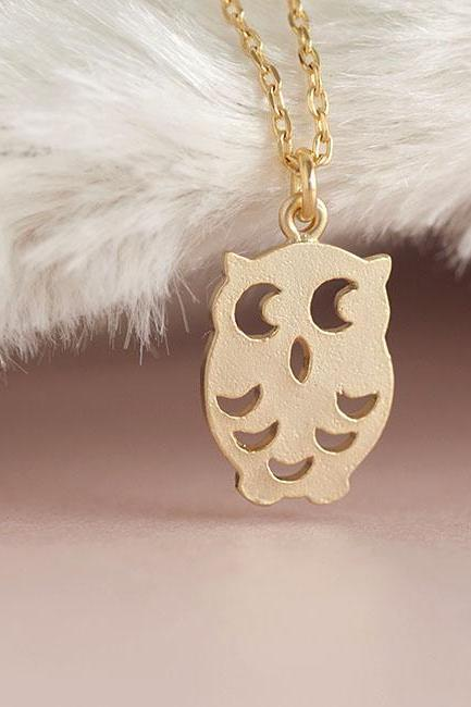 Gold Baby Owl Necklace, Nocturnal Bird Charm Chain, Animal Jewelry, Matoto
