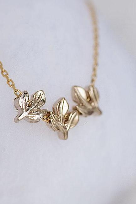 Tiny Gold Laurel Leaves Necklace, Triple Leaf Necklace, Whimsical