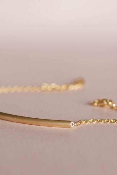 Bar Bracelet in Gold, Slim Curved Sideways Tube Bar Bracelet, Minimalist