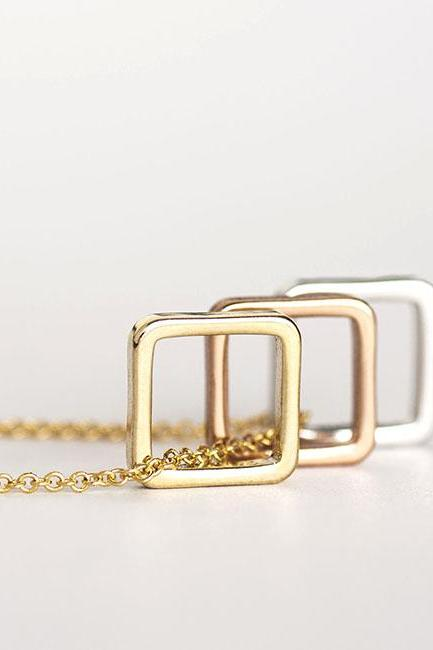 Square Charm Necklace, Triad Triple Square, Minimalist Geometric Inspired