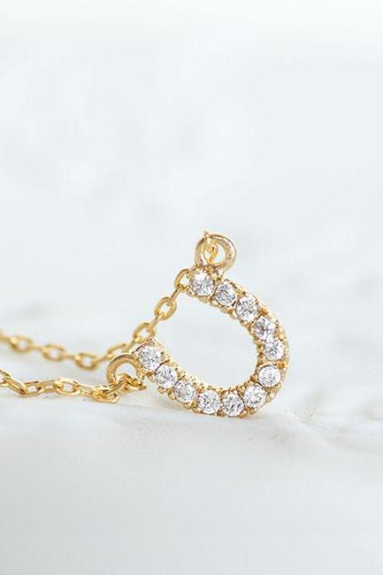 Gold Crystal Horseshoe Necklace, Cubic Zirconia Pave Necklace, Sparkle