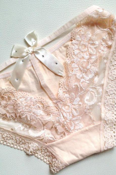 New Sexy Butterfly Lace Women's Panties, Color Peach