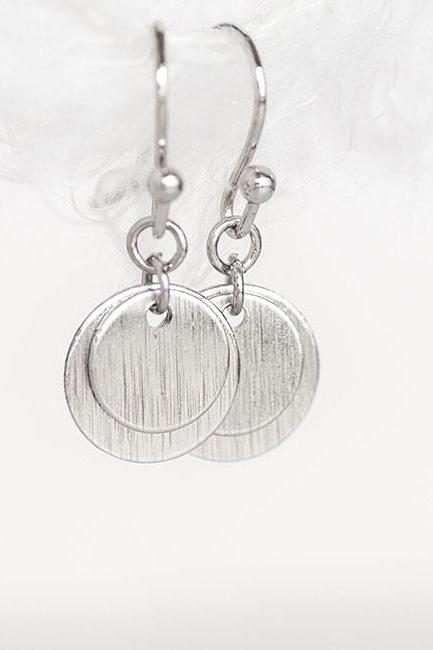Silver Disc Coin Earrings, Dainty Dangle Overlay Circle Earrings, Matoto Minimalist Collection