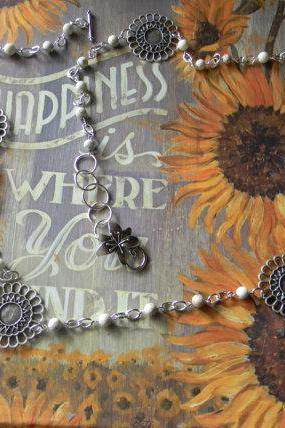 Long Beaded Flower Necklace/Bracelet/Jean/Waist JewelryFrom siljewel