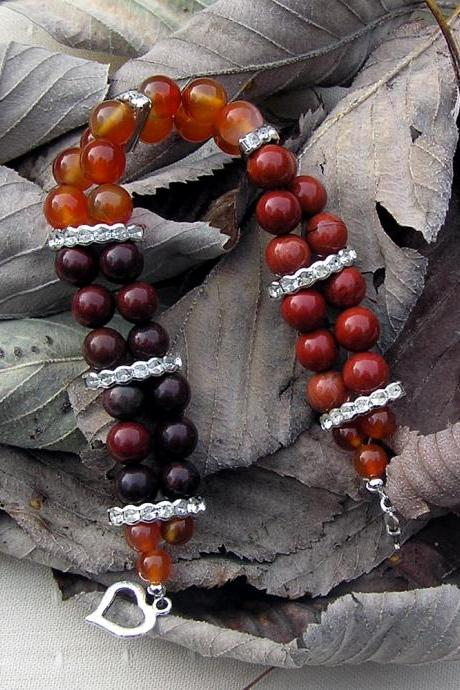 Carnelian, Poppy Jasper & Red Jasper Gemstone Crystal Bracelet - 'Glowing Embers'
