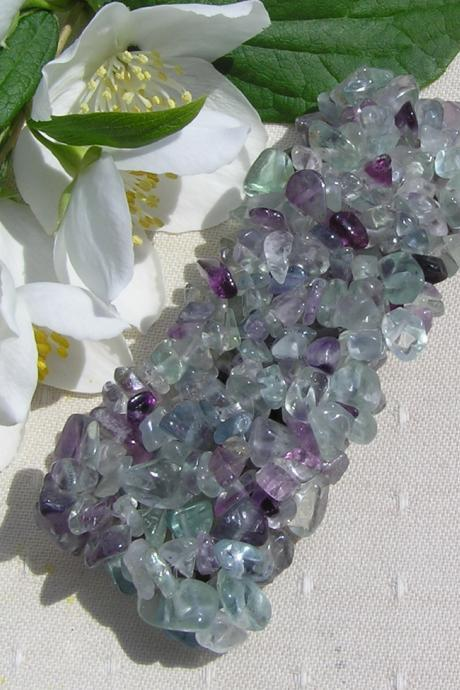 Fluorite Gem-Chip Crystal Gemstone Stretchy Cuff Bracelet
