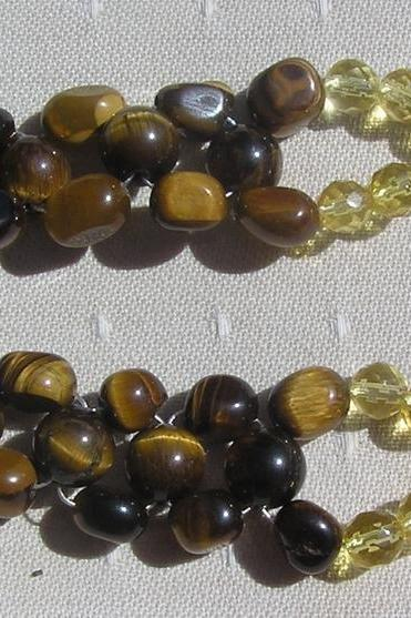 Gold Tiger Eye & Citrine Woven Crystal Gemstone Bracelet