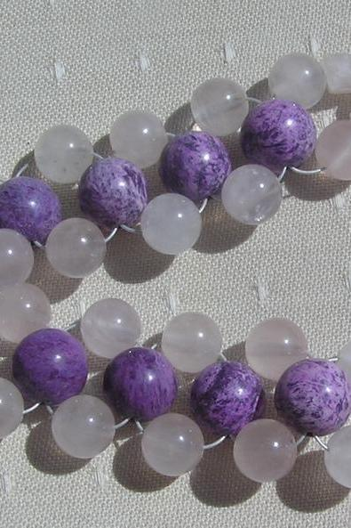 Sugilite & Rose Quartz Crystal Bracelet - 'Sugar Candy'