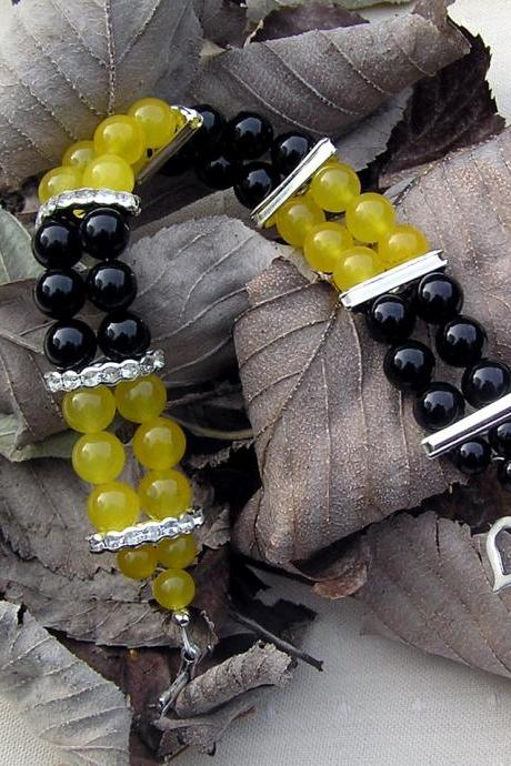 Black Onyx & Yellow Agate Gemstone Crystal Bracelet - 'Lemon Caipirinha'