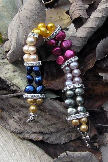 Multi Coloured Freshwater Pearl Bracelet - 'Party Glitz'