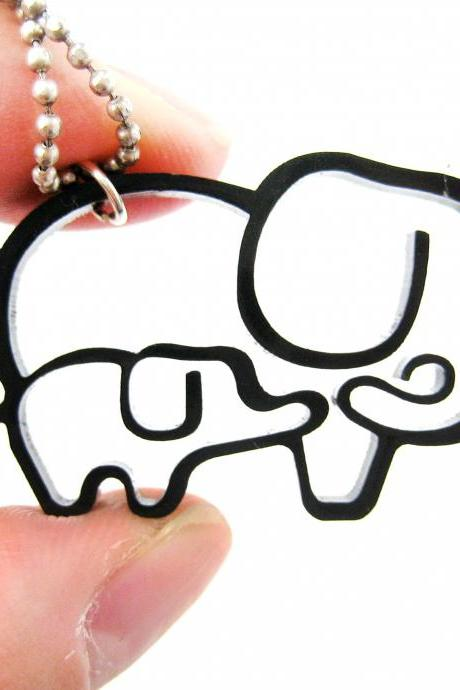 Simple Elephant Family Animal Charm Outline Necklace in Black Acrylic