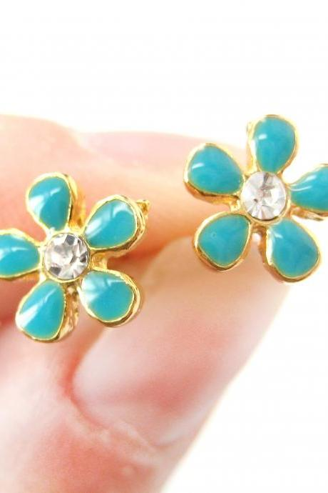 Small Floral Daisy Flower Stud Earrings in Turquoise on Gold