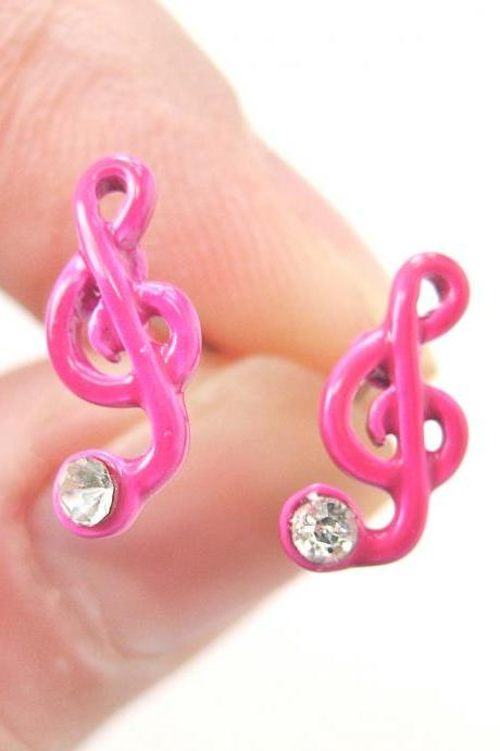 Musical Note Treble Clef Shaped Stud Earrings in Pink