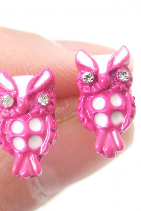 Small Owl Shaped Bird Animal Stud Earrings in Pink and White Enamel