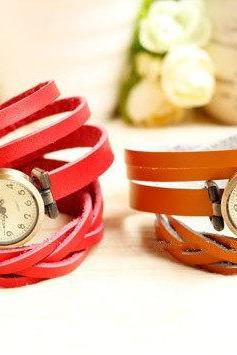 6 Colors Handmade leather watch, Bracelet watch wrap watch,Women And Men wrap watch,Muti-Circle leather watch,best gift for christmas -B19