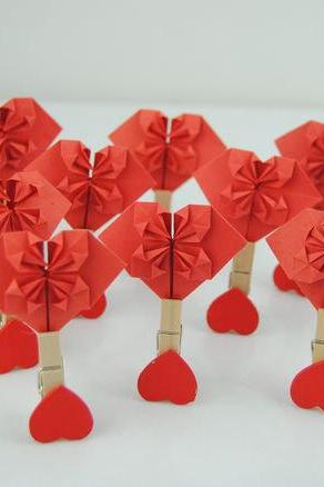Handmade paper heart, set of 10pcs Paper Heart origami heart,Red paper heart with wood tongs , Girls Bedroom Decor,Wedding decoration