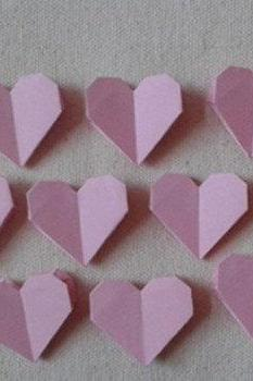 Paper hearts 100pcs Origami hearts, handmade , set of 100 hand folded hearts in 3 colours, hearts for wedding decoration or home dec