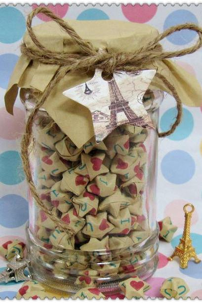 199Count Lucky Origami Paper Stars in Glass red heart stars kawaii Cute Gift for Her