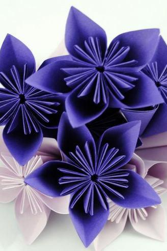 Handmade Paper Origami Flowers Purple and Lavender - 20pcs Flowers home and wedding decoration