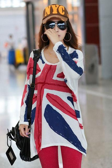 Uk flag Style Long Sleeve T shirt - White