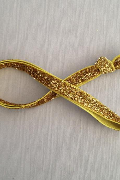 3/8' Gold Glitter Elastic Headband by Elastic Hair Bandz