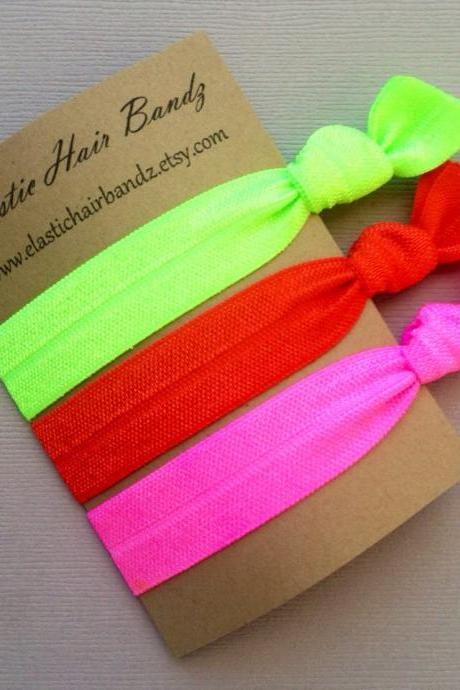 The 3-Pack Brights Hair Tie Collection - 3 Elastic Hair Ties by Elastic Hair Bandz on Etsy