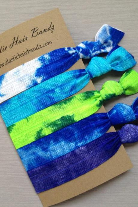 The Blue Green Tie Dye Hair Tie-Ponytail Holder Collection - 5 Elastic Hair Ties by Elastic Hair Bandz on Etsy