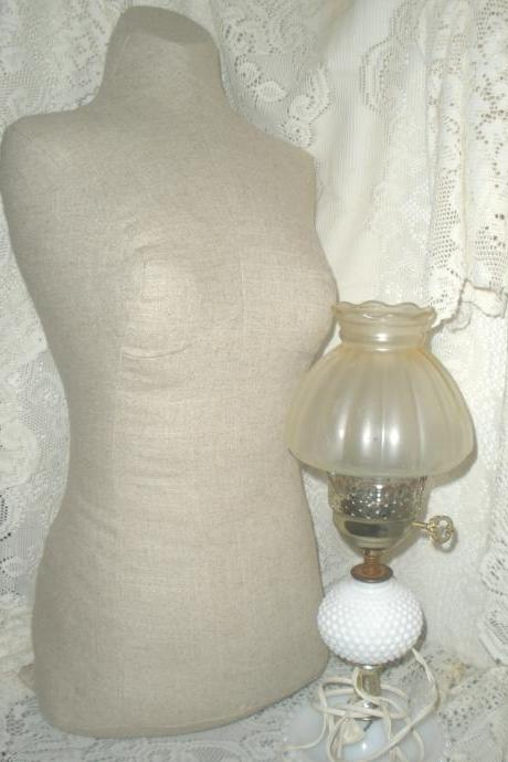 Boutique Dress form designs with stand. Life size torso great for store front or home decor. Neutral linen fabric.