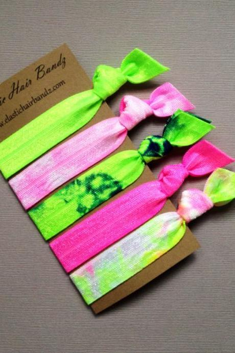 The Zoe Neon Hair Tie Collection - 5 Elastic Hair Ties by Elastic Hair Bandz on Etsy