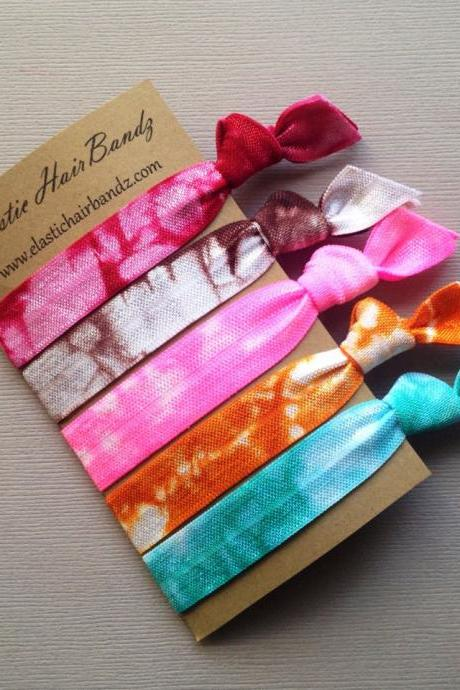 The Marley Tie Dye Hair Tie Collection - 5 Elastic Hair Ties by Elastic Hair Bandz on Etsy