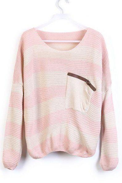 Loose Pink Striped Sweater With Pocket