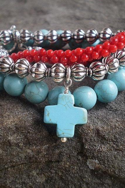 Turquoise and Red Three Bracelet Stack
