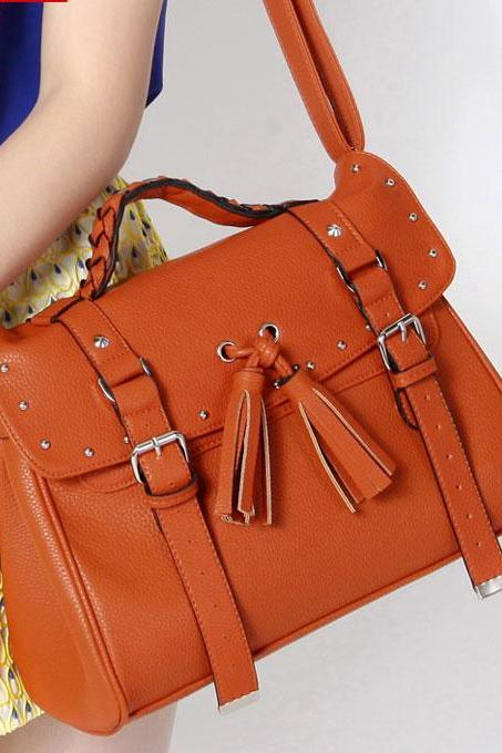 Unique Brown Tassel Rivet Shoulder Bag