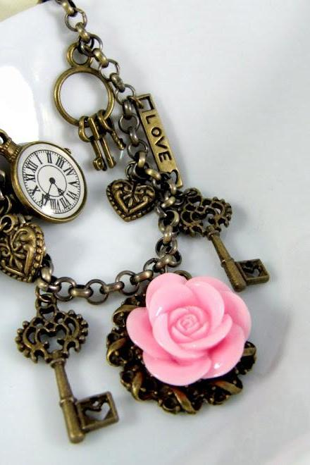 Romantic pink flower bracelet